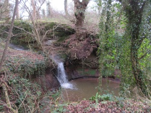 Waterfall near canal, Cheshire