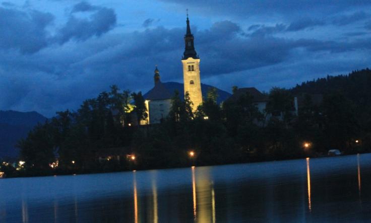 Lake Bled at night