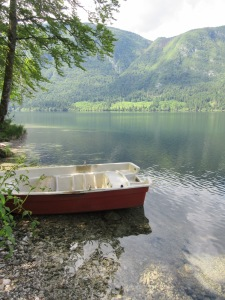 Boat on lake Bohinj Slovenia