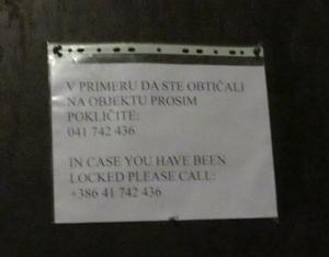 Sign on Bled castle door