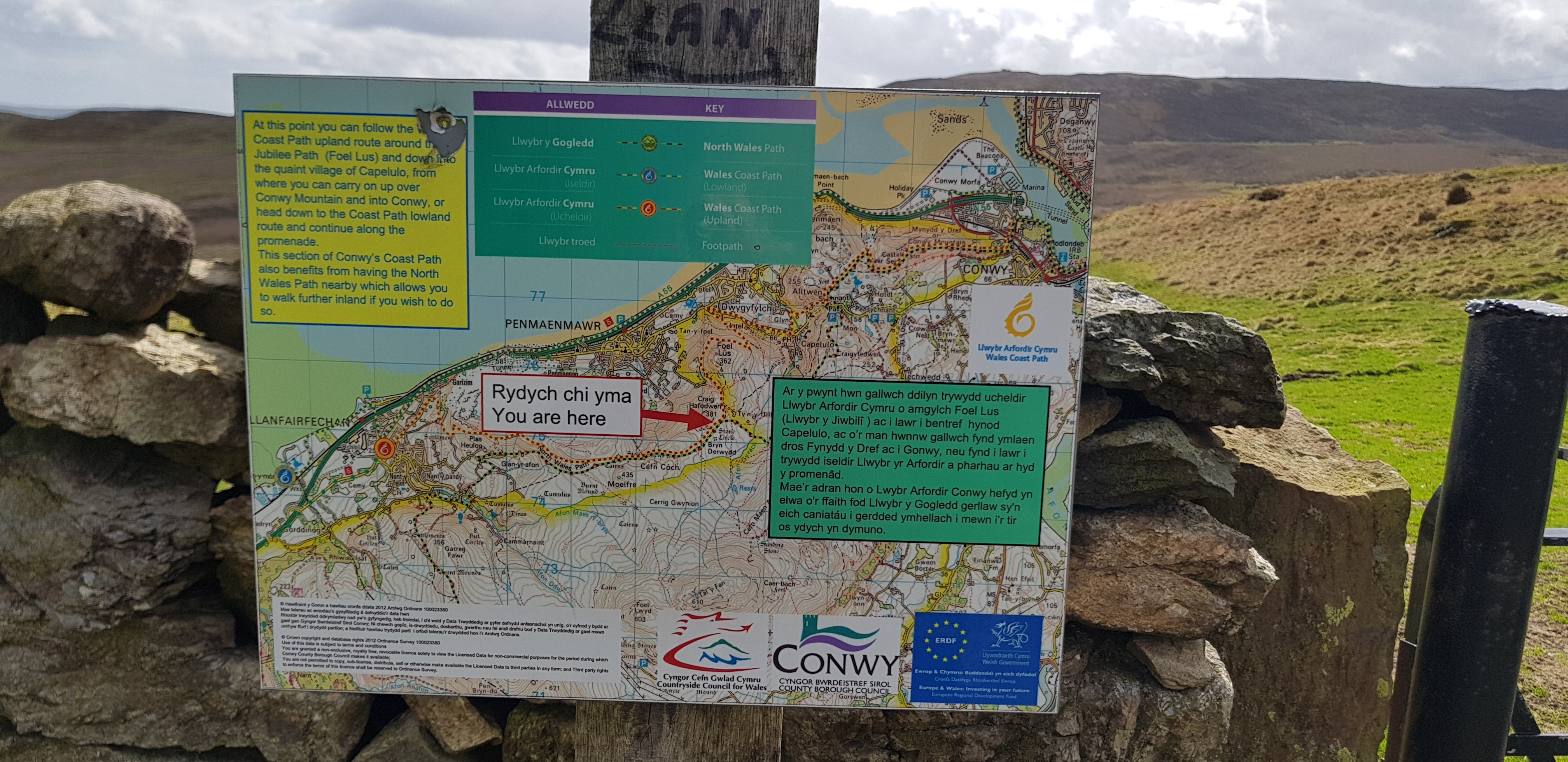 Map of paths near Conwy
