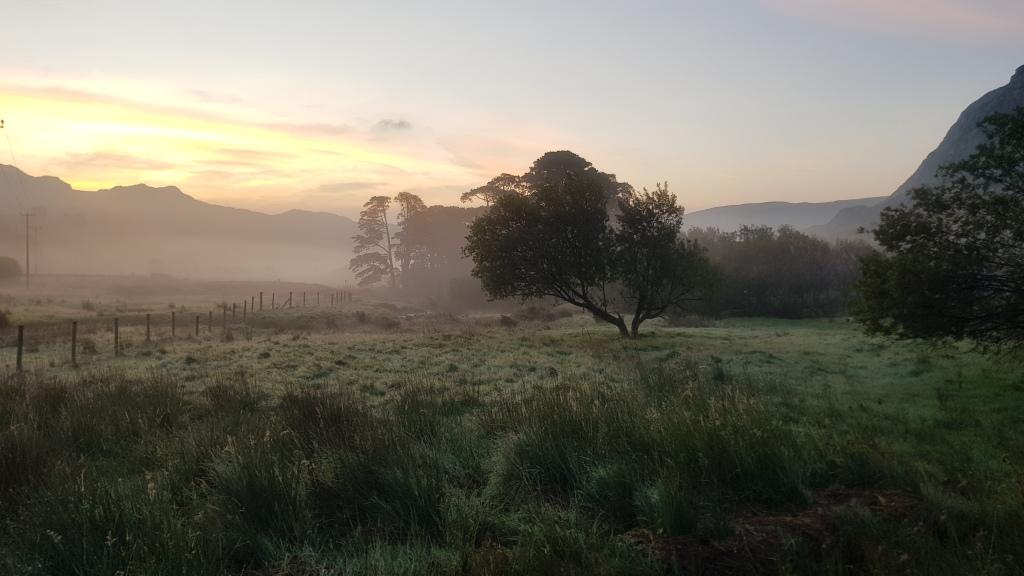 Sunrise Gwern Gof Isaf campsite near Capel Curig